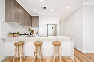 Modern kitchen interior with Bamboo benchtop