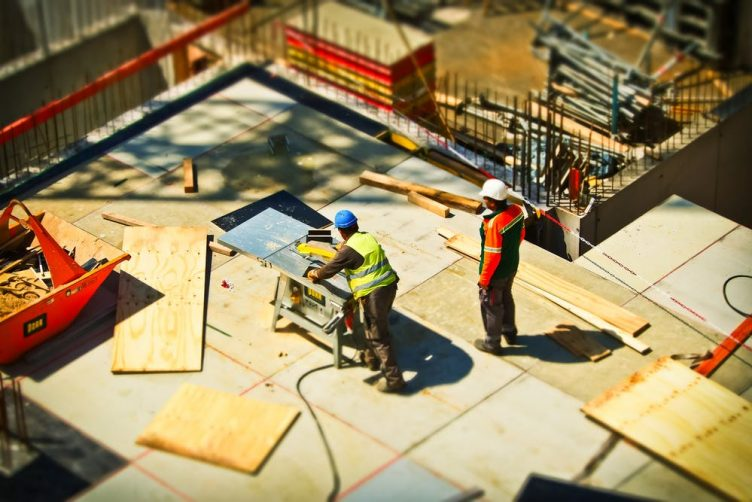 Construction workers in the site