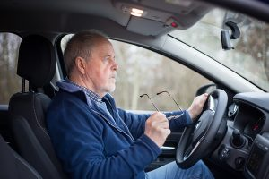 Senior man driving with dementia